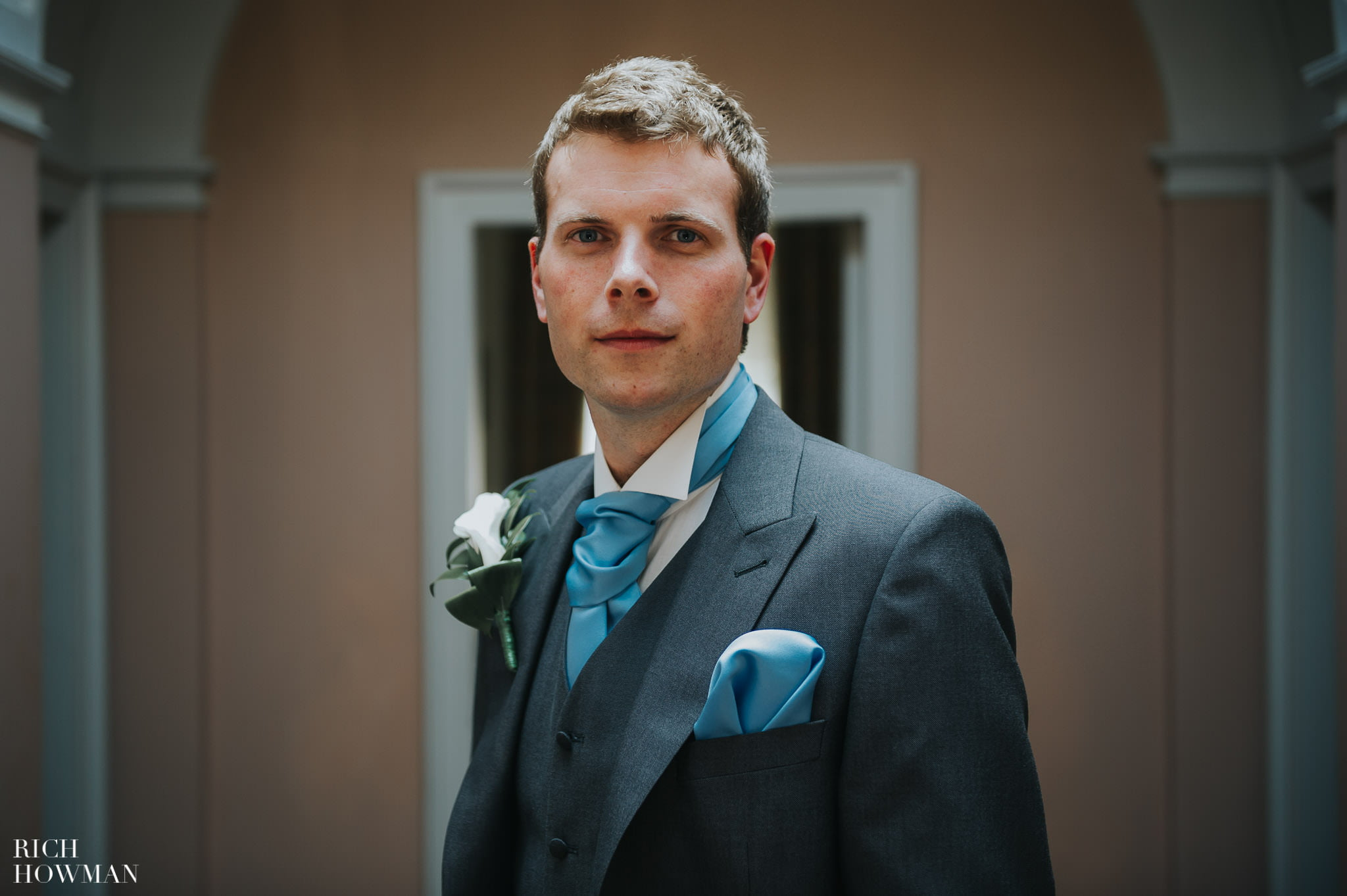 The Groom photographed during his wedding at Llanerchaeron in West Wales