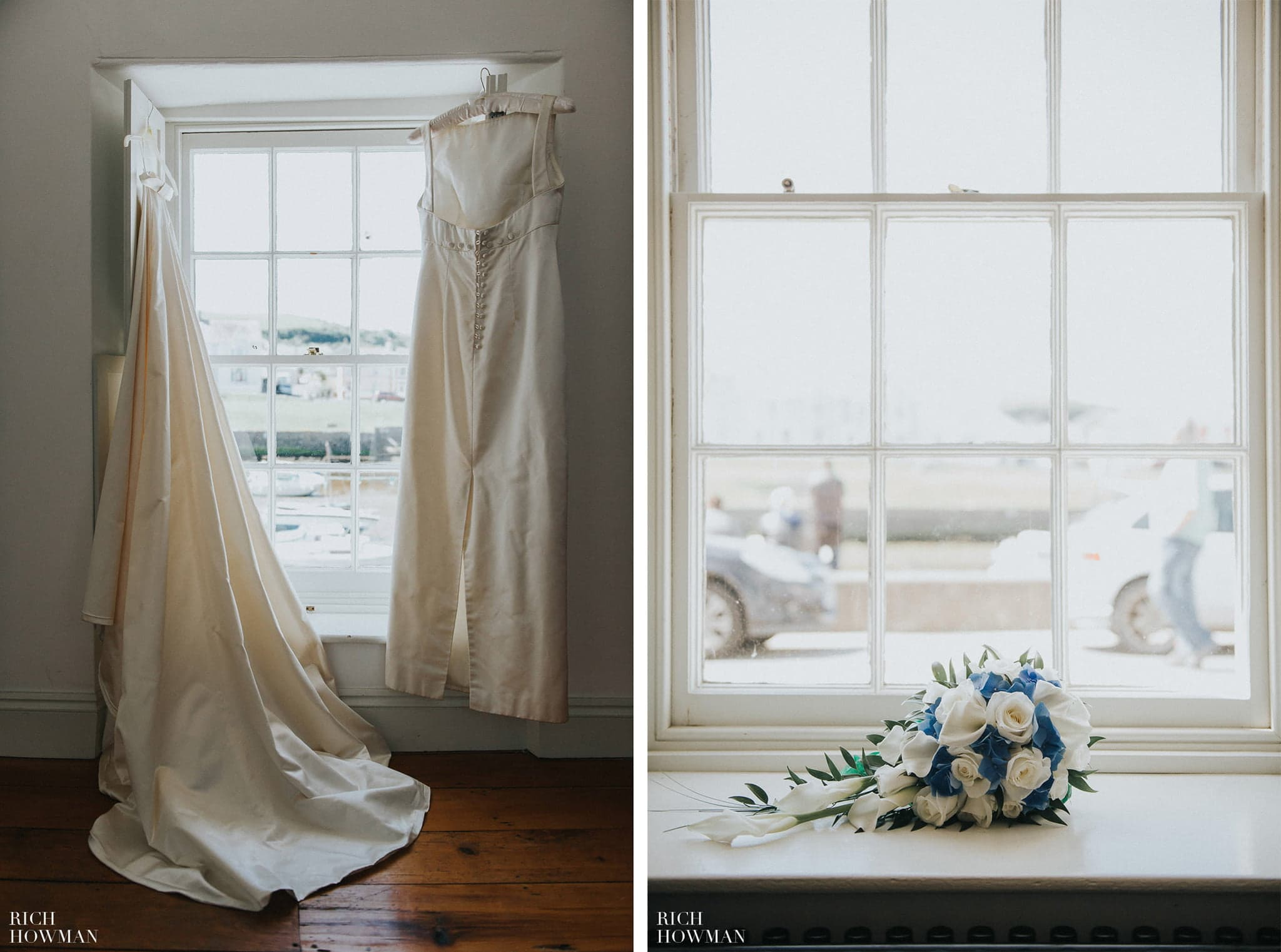 The brides dress photographed hanging in a window before her wedding at llancharaeon.