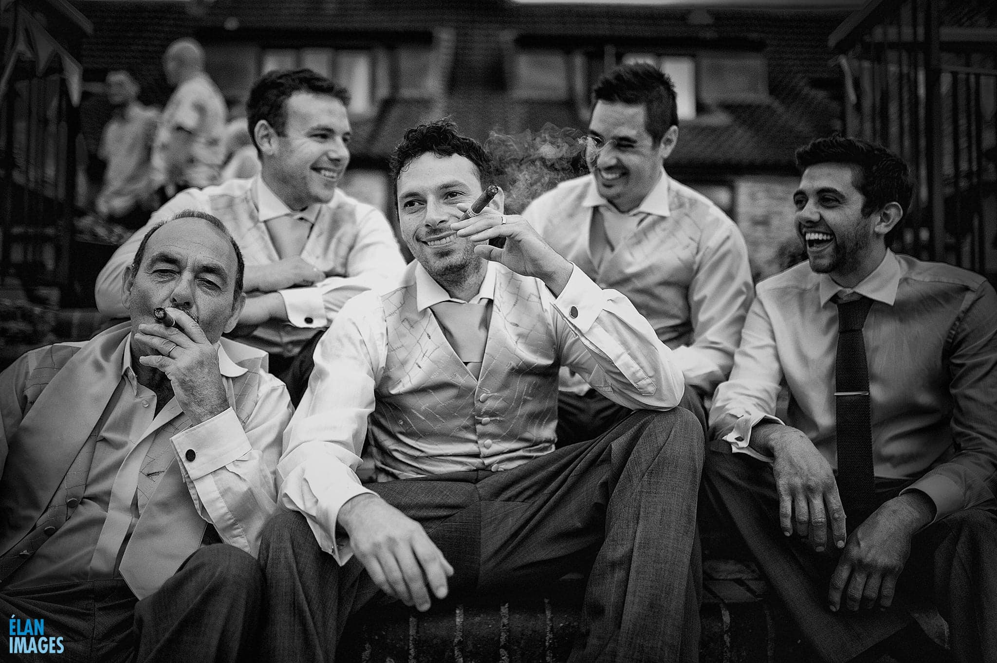 Cameley Lodge Wedding - Groom Smoking Cigar