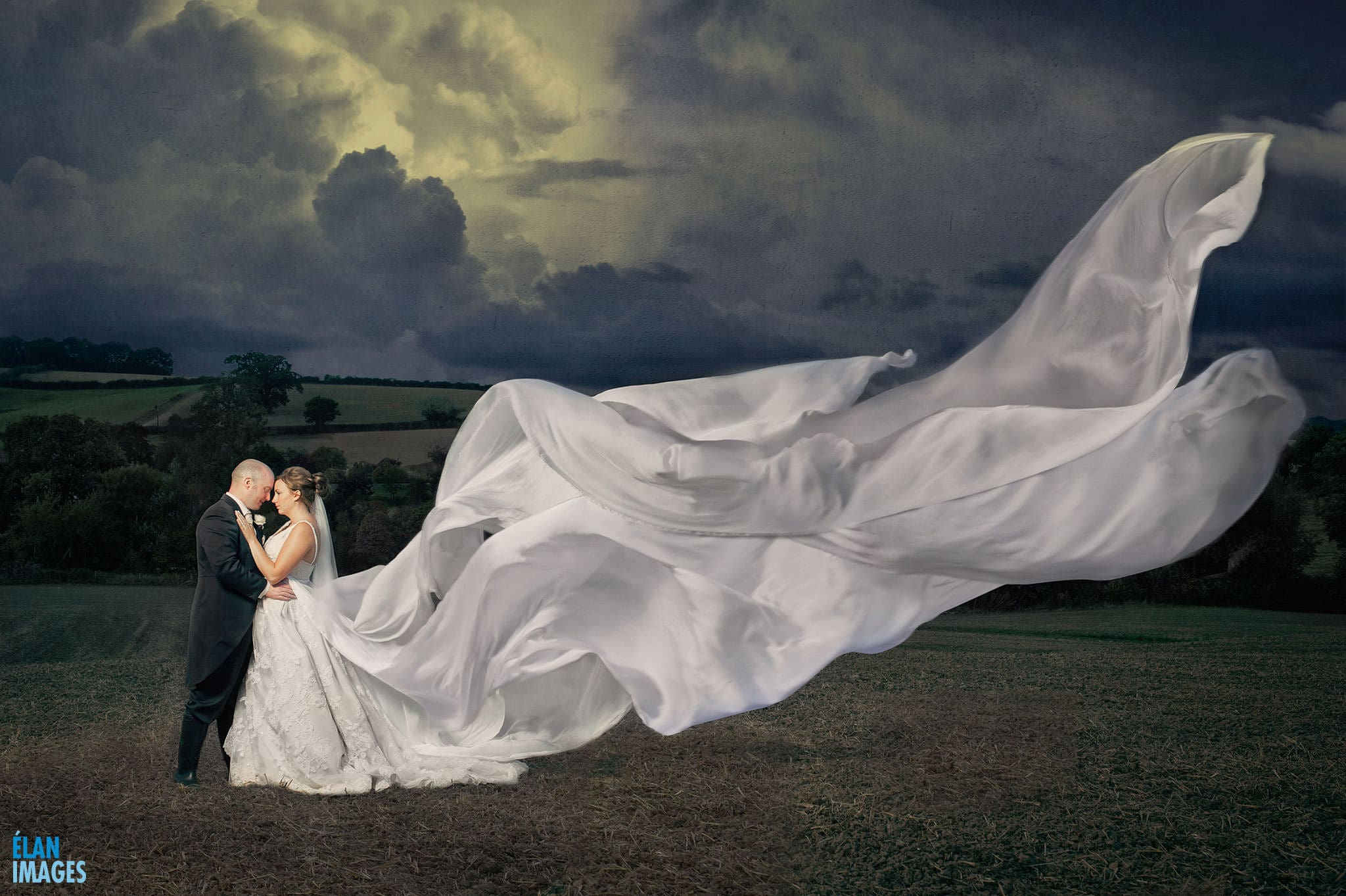 Bride and Groom at Priston Mill Dress blowing in the wind