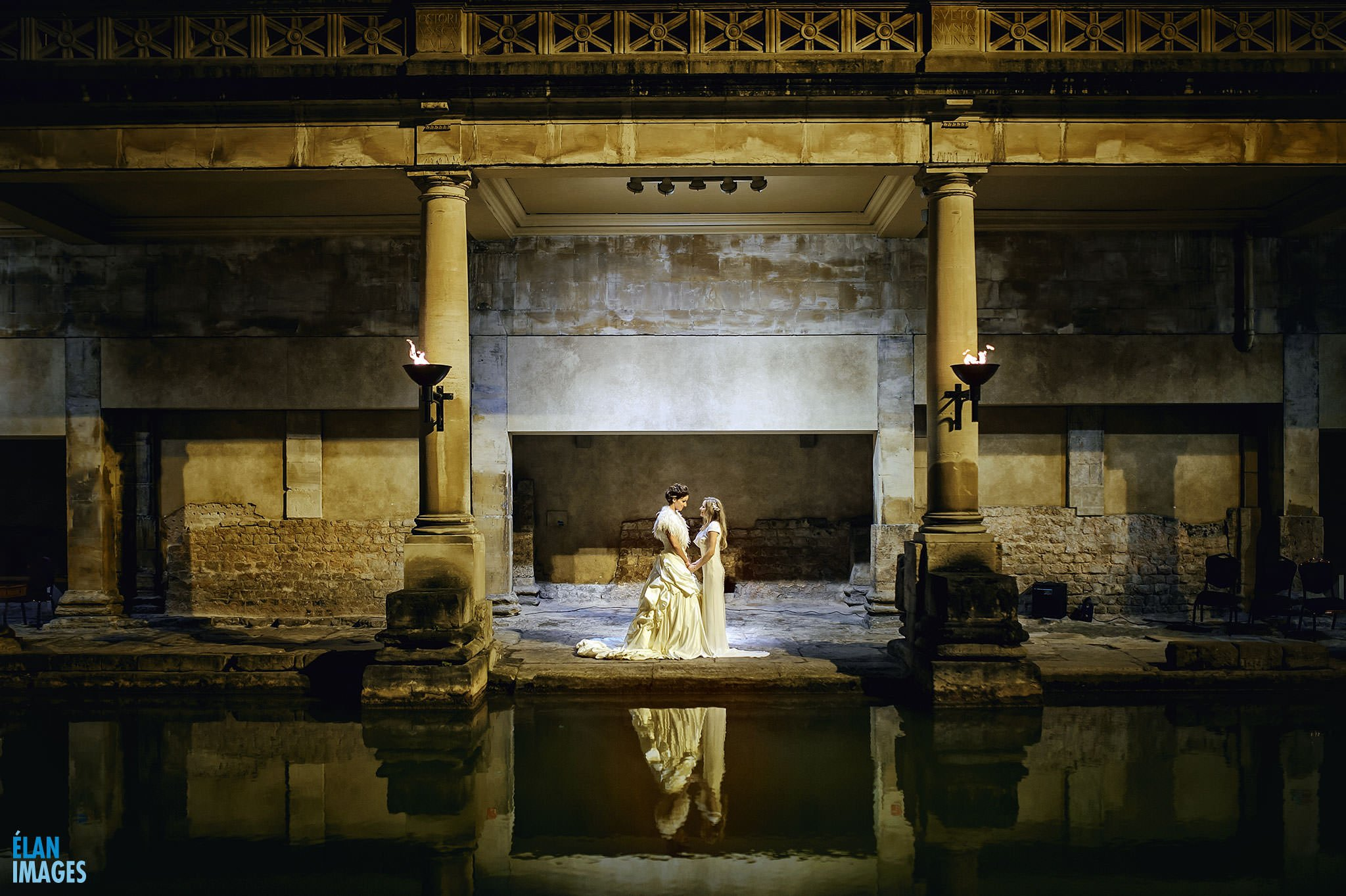 Evening wedding at the Roman Pump Rooms Bath