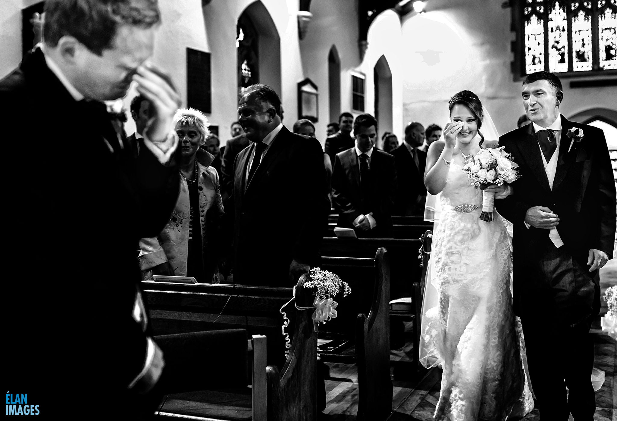 Danni the Bride coming down the aisle before her wedding reception at Lainston House Hotel near Winchester
