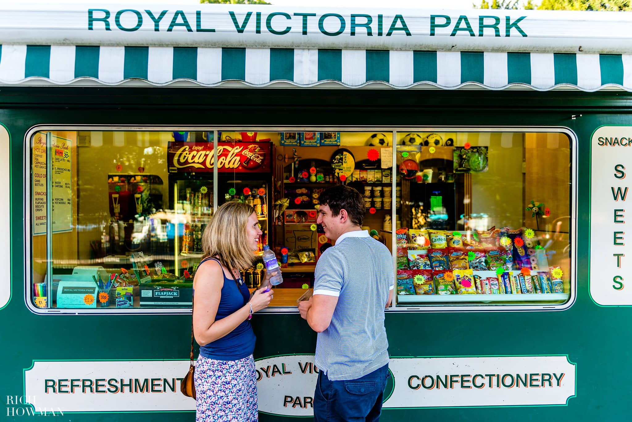 Ice cream in Royal Victoria Park in Bath on a hot day. During their engagement photo shoot