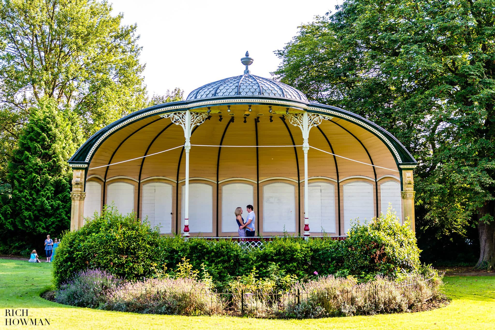 Royal Victoria Park Bandstand with engaged couple for their photo shoot, photographed by Bath Wedding Photographer Rich Howman