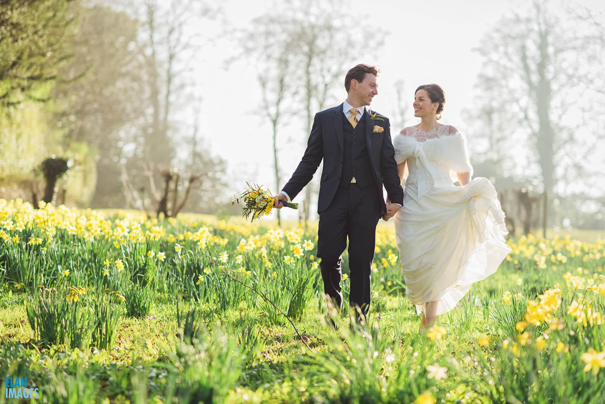 Spring Wedding in the daffodils at Coombe Lodge Blagdon