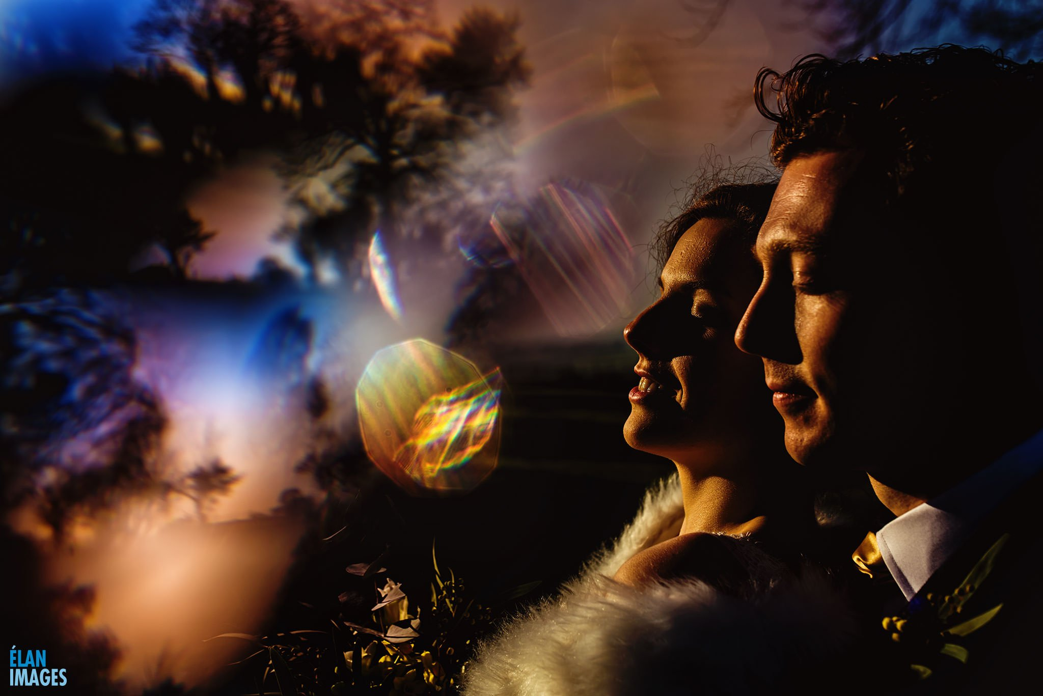 Abstract wedding portrait photograph f the bride and Groom at Coombe Lodge in Somerset