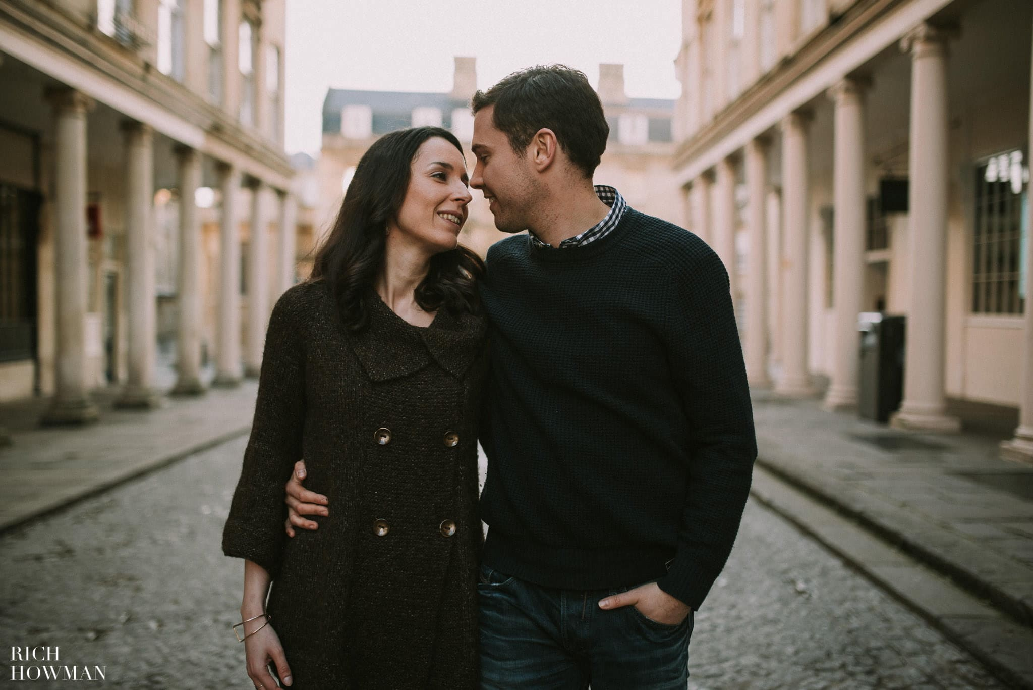 Engagement Photography outside of the Roman Baths in the City of Bath