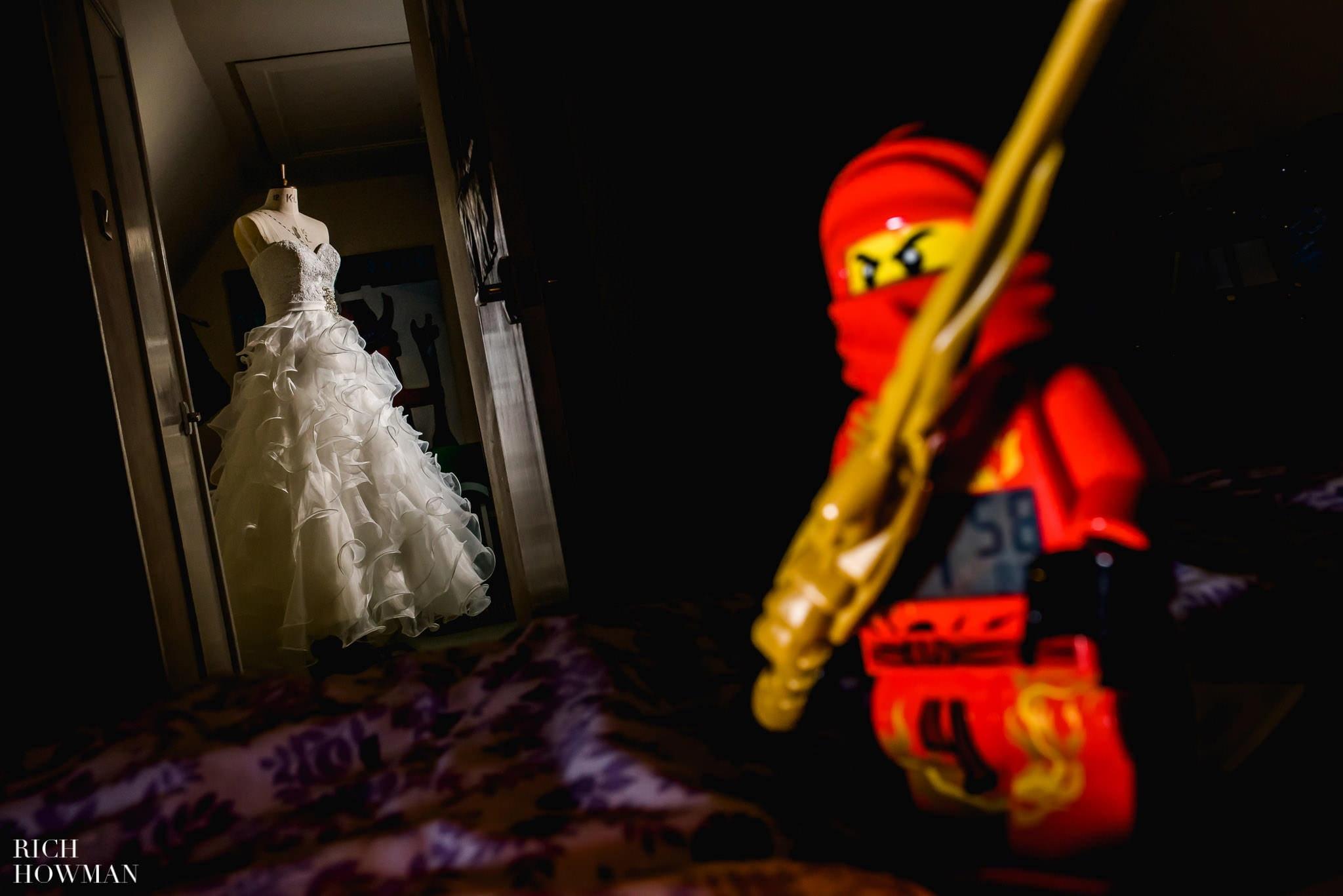 A Lego Ninja guarding the wedding dress