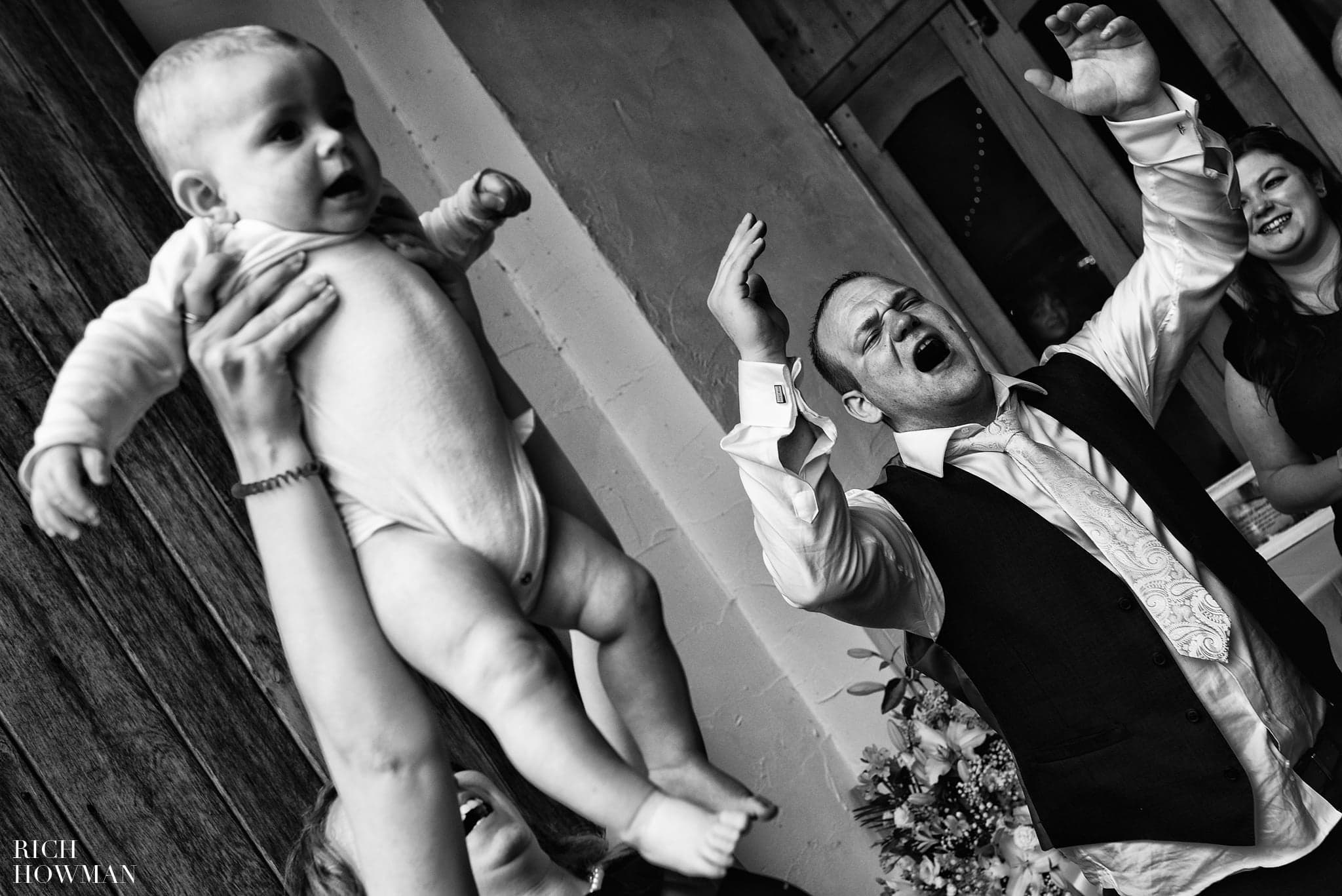 Lion King Photo with a Baby at Haselbury Mill wedding