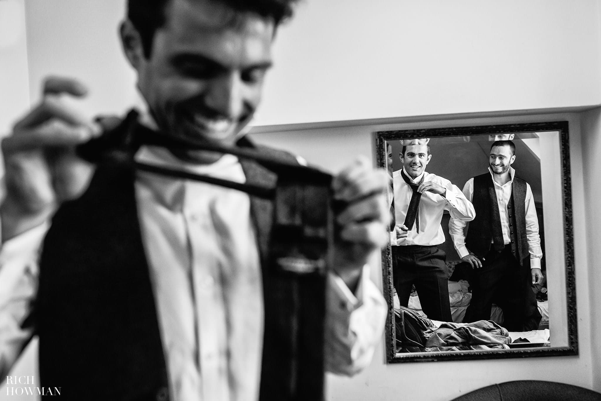 Folly Farm Centre Wedding - the groomsmen getting ready in the morning before their wedding