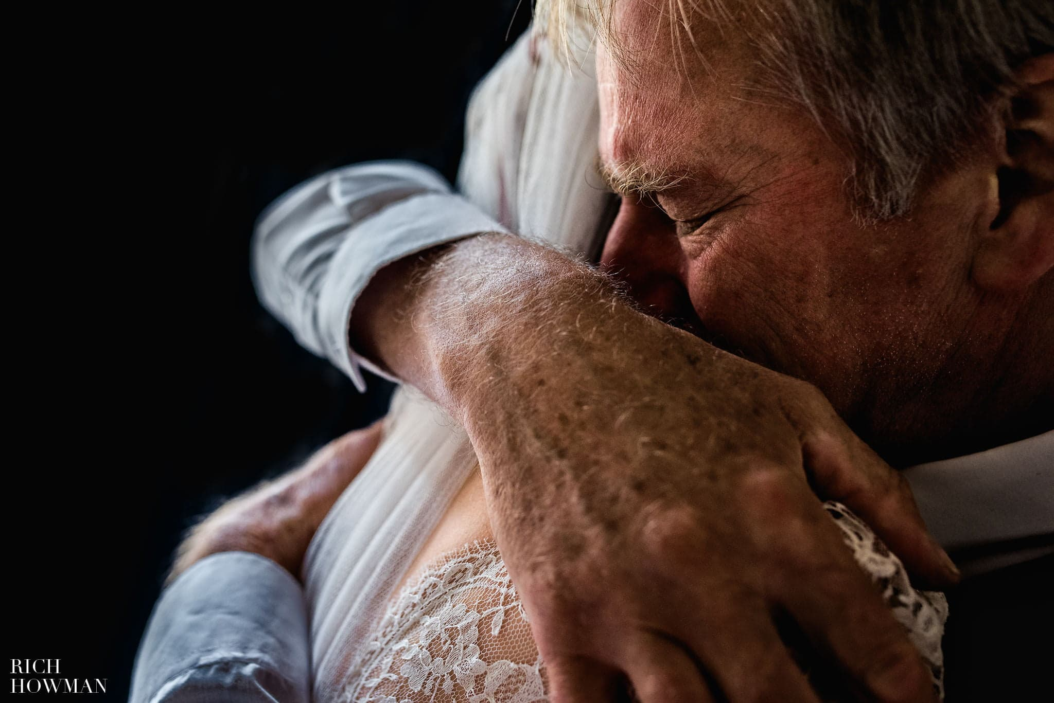 Just before getting married at the Folly Farm Centre Wedding, Pip's father embraces her