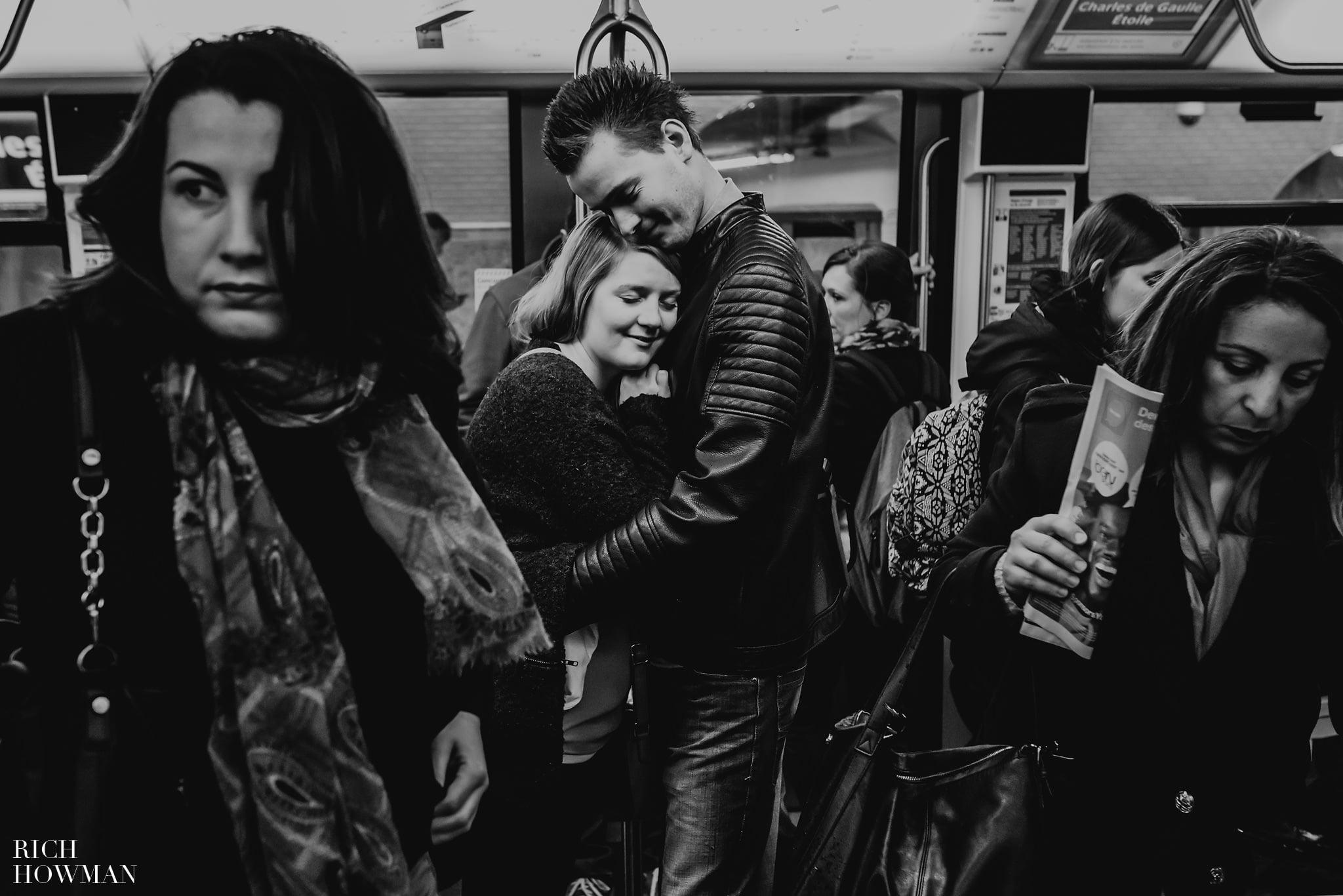 Engagement photographer on the Paris Metro