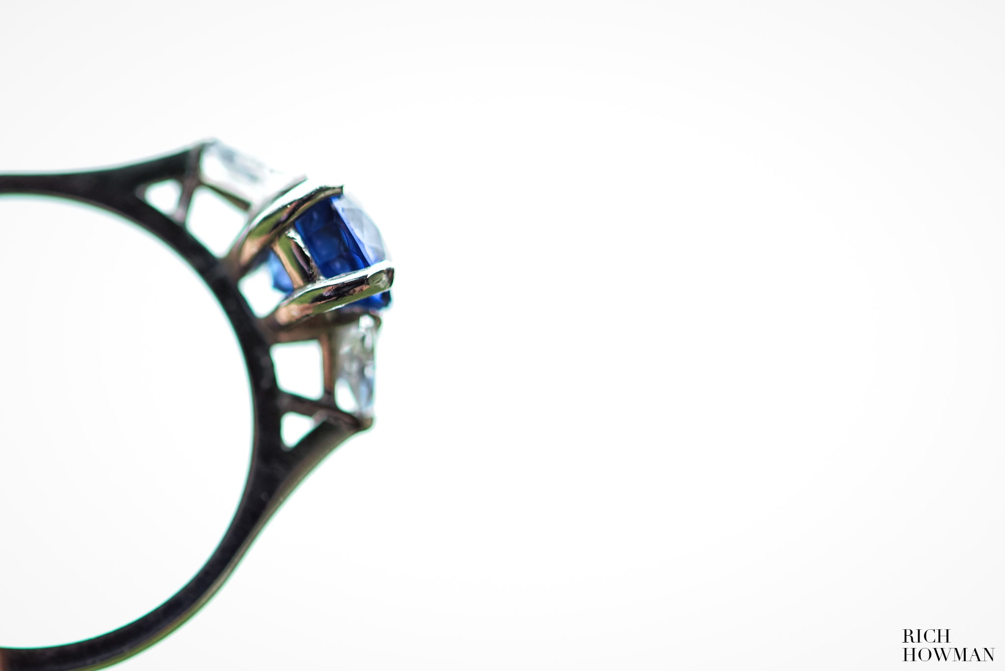 Sapphire engagement ring macro photograph