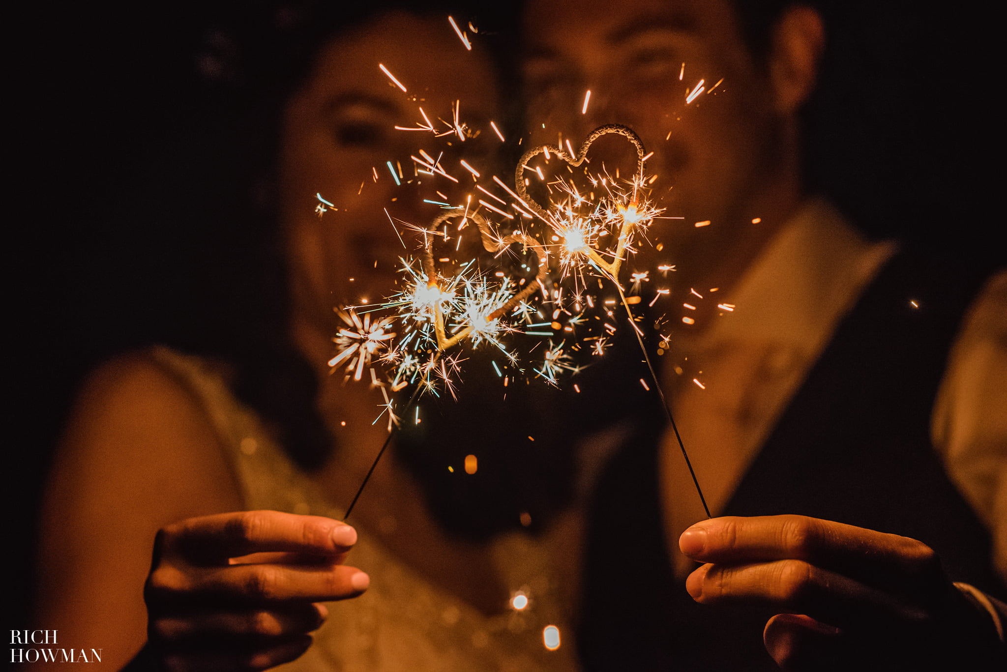 Heart Shaped Sparklers At Howards House Hotel Wedding