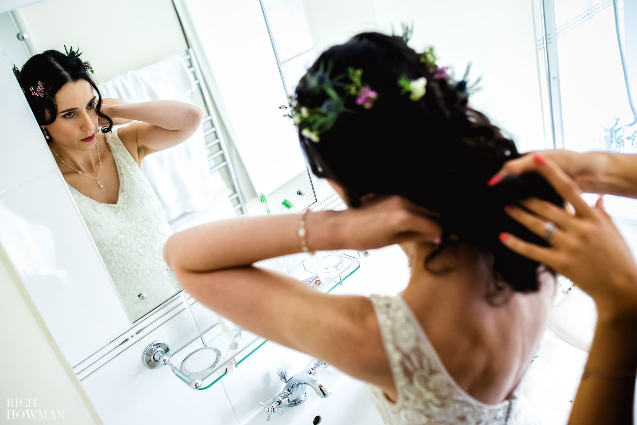 Bride getting ready at Howards House Hotel before her wedding at the Church in Teffont Evias