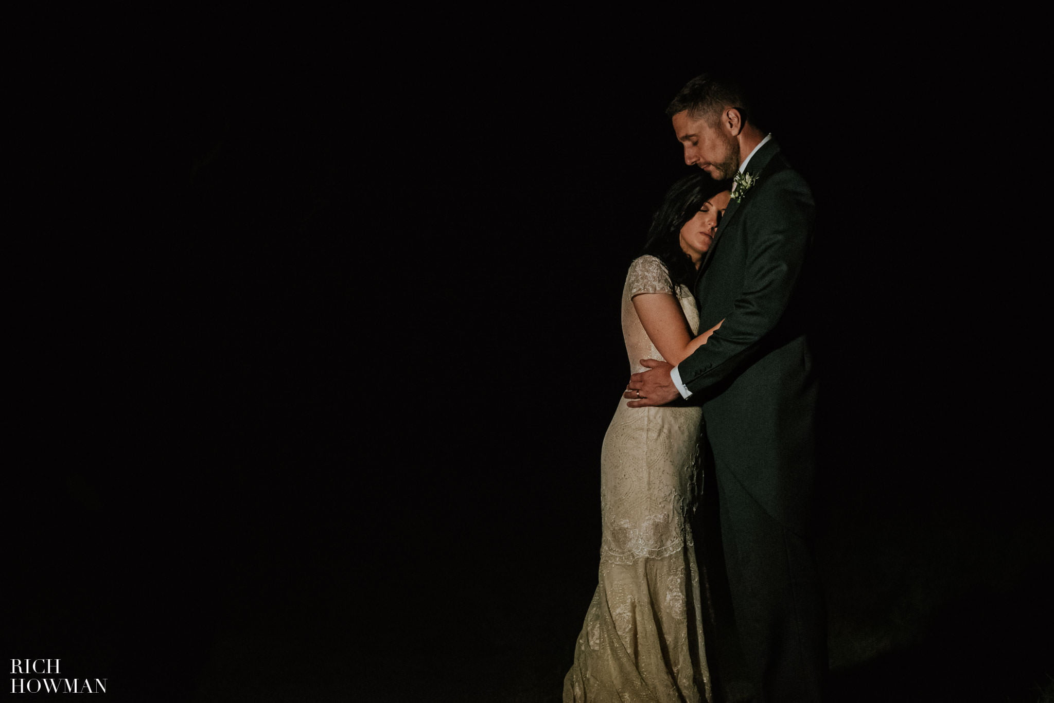 Low light creative wedding portrait photograph during an Iscoyd Park Wedding