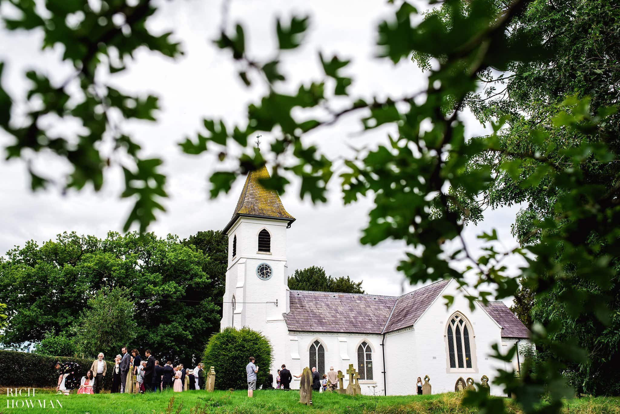 Photograph of St Mary's Church, Whitewell during a wedding ceremony before their Iscoyd Park Wedding