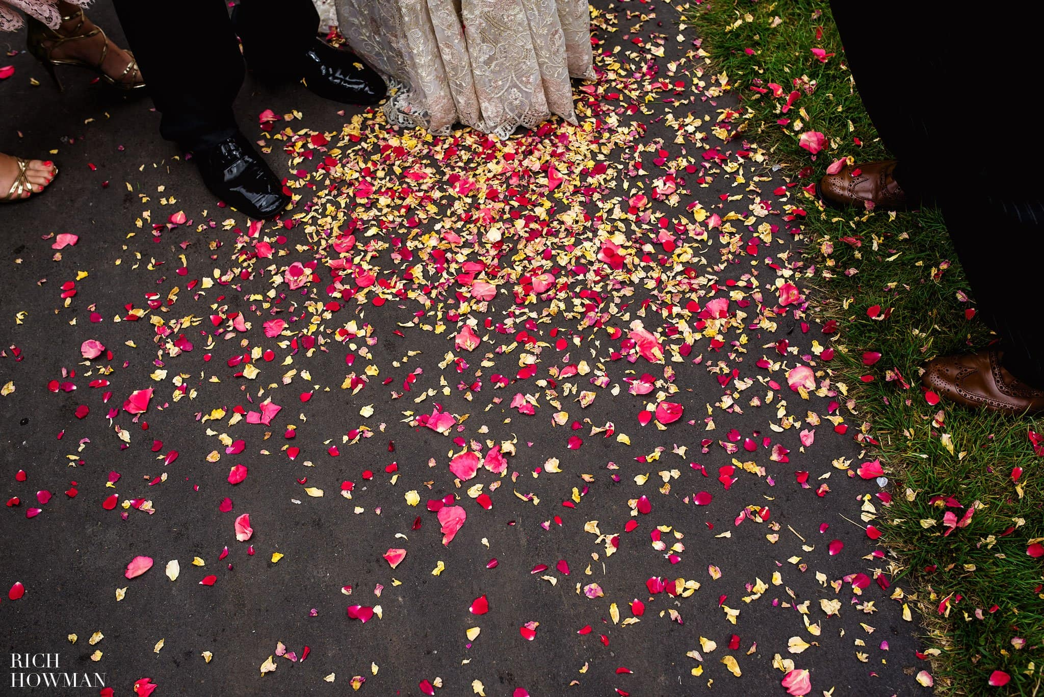 Pile of confetti on the floor outside the church