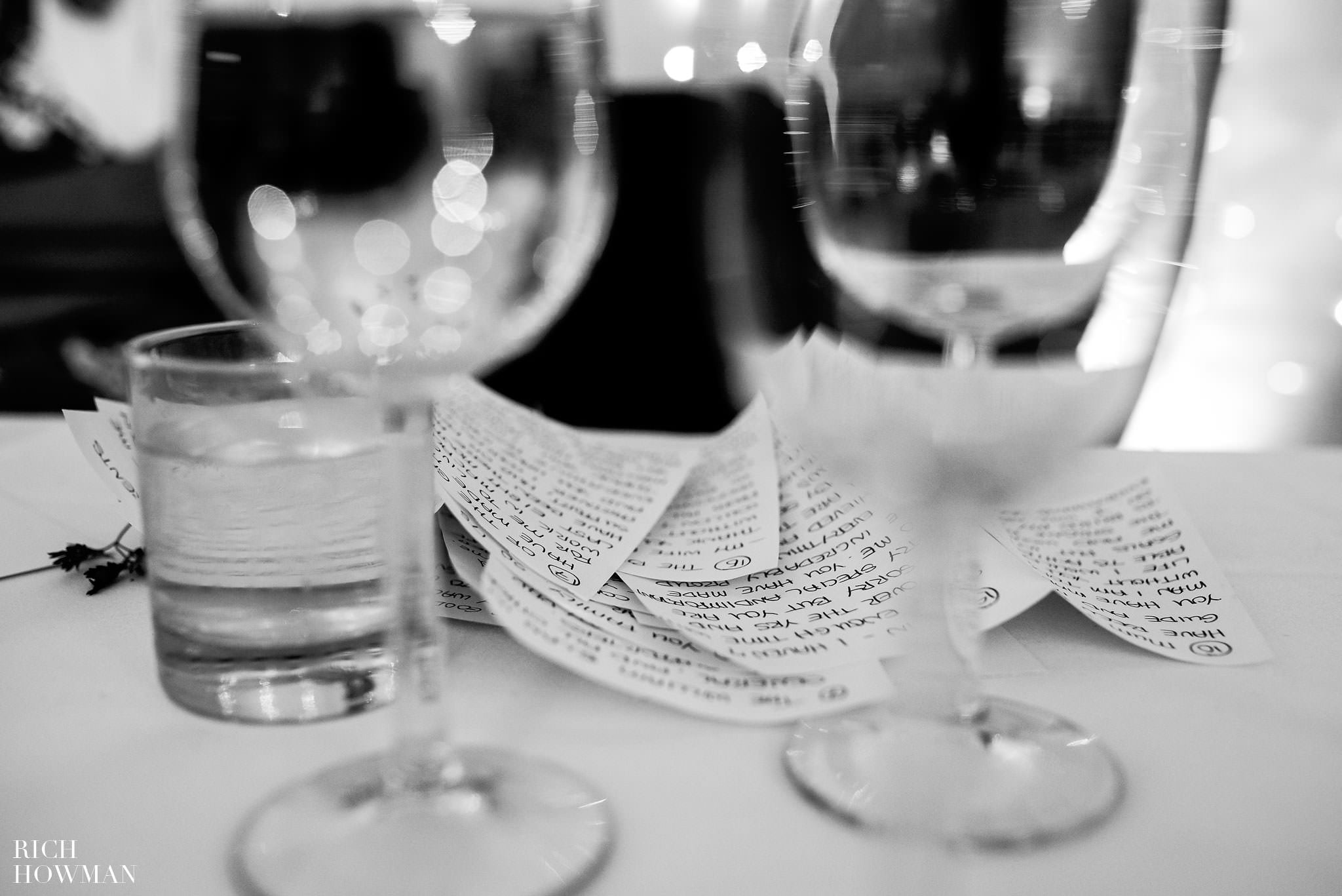 Black and white photo of wedding speech notes