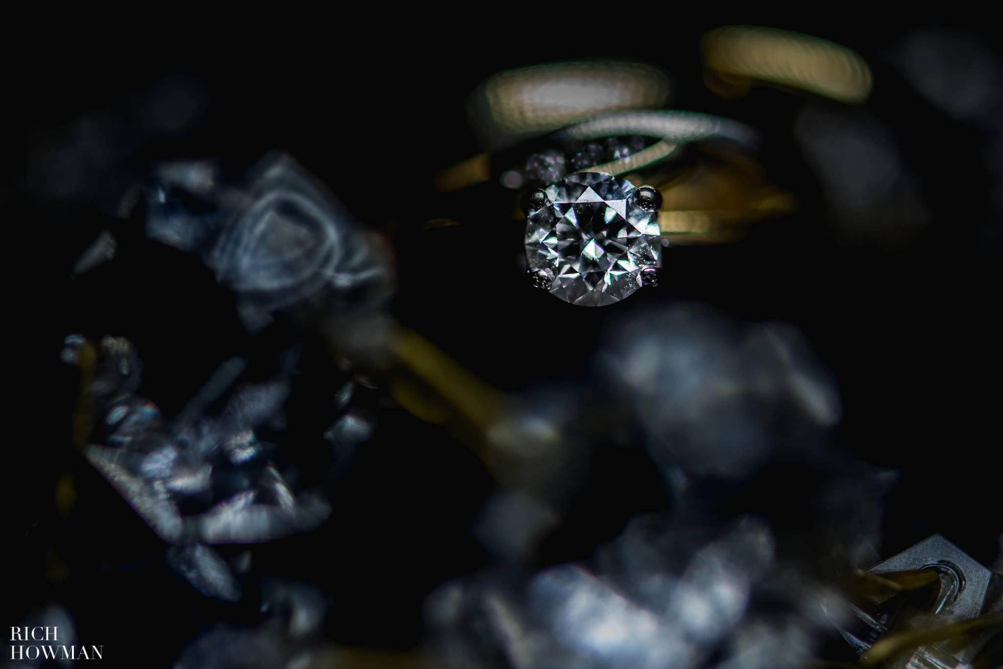 Wedding ring photograph showing off the big diamond.
