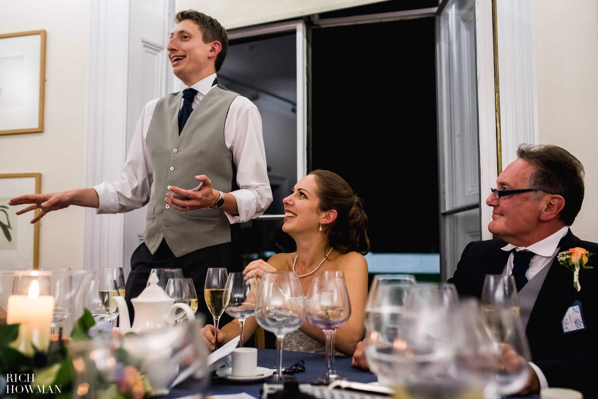 Funny grooms speech photo - kew gardens wedding in London