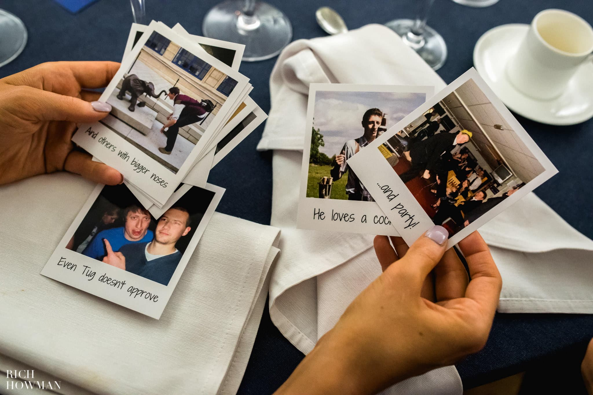 Funny photos of the groom handed out by the best man during his wedding speech.