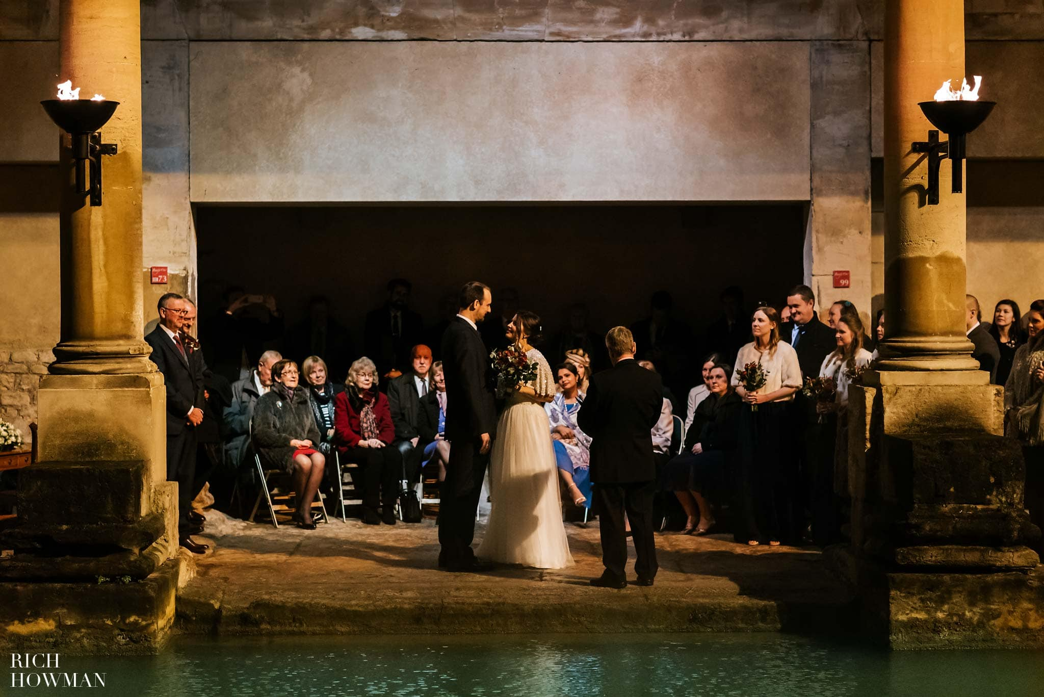Wedding ceremony at the Roman Baths - sunset ceremony