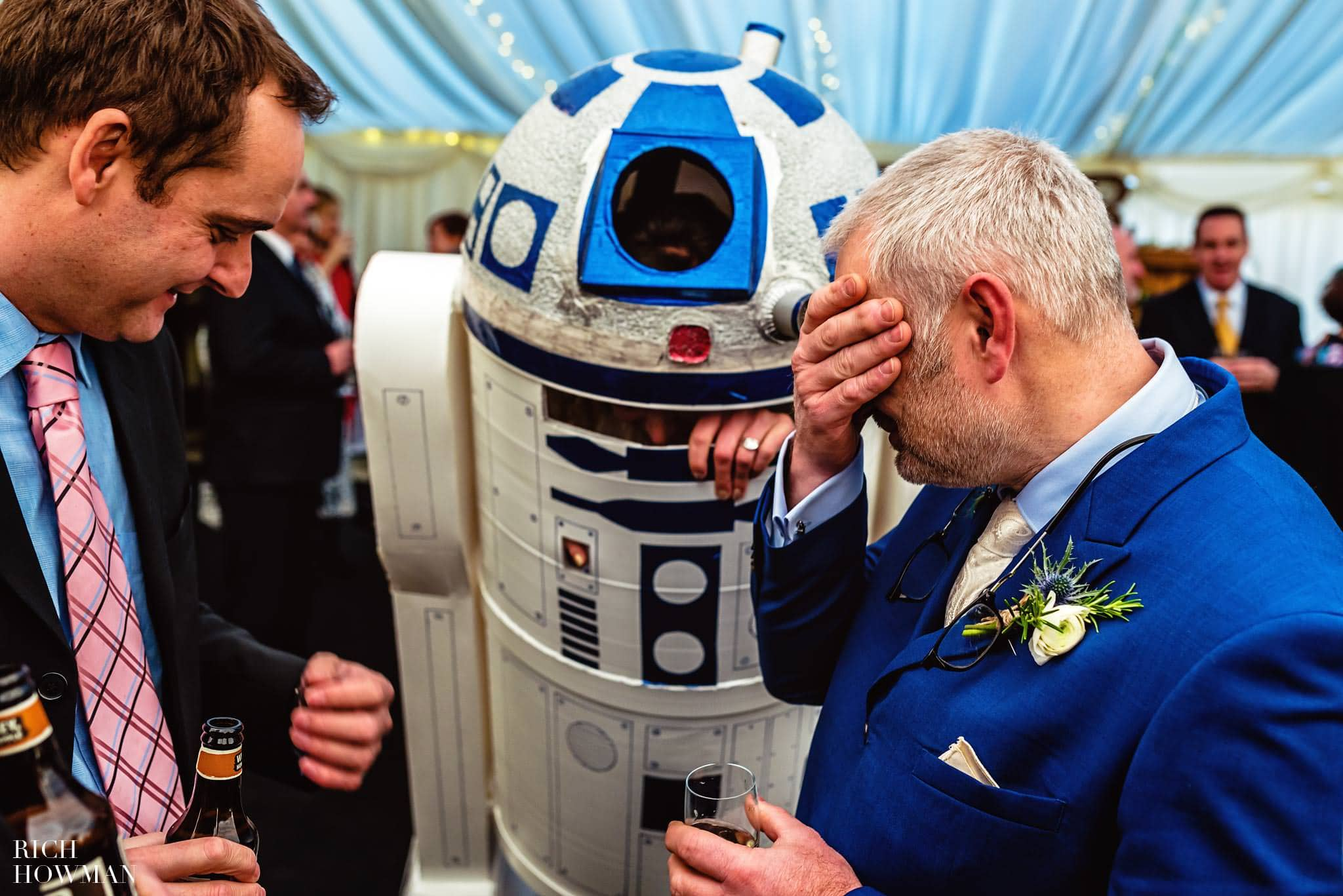 Bride in R2D2 costume at her star wars wedding