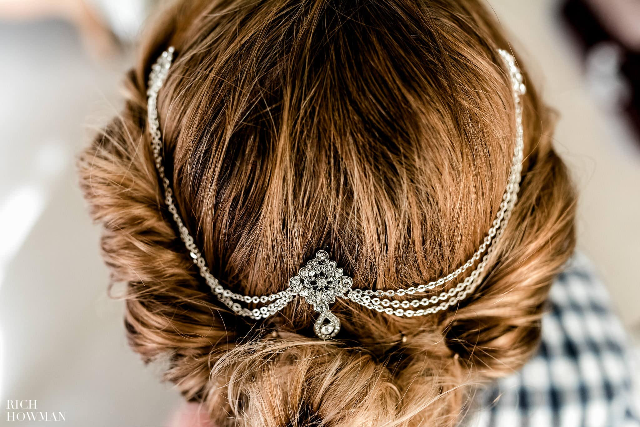Detail photograph of the brides headpiece