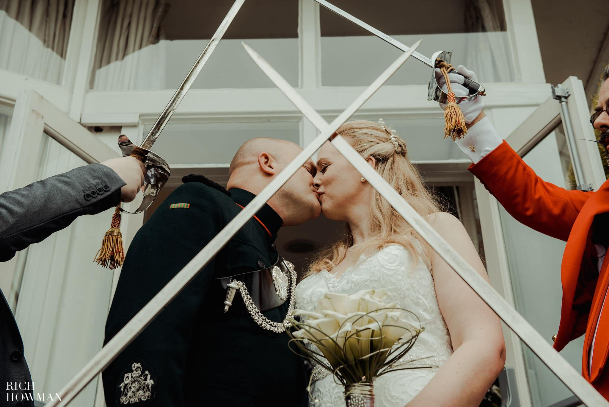 Crossed swords photo at an Army wedding in the Leigh Park Hotel
