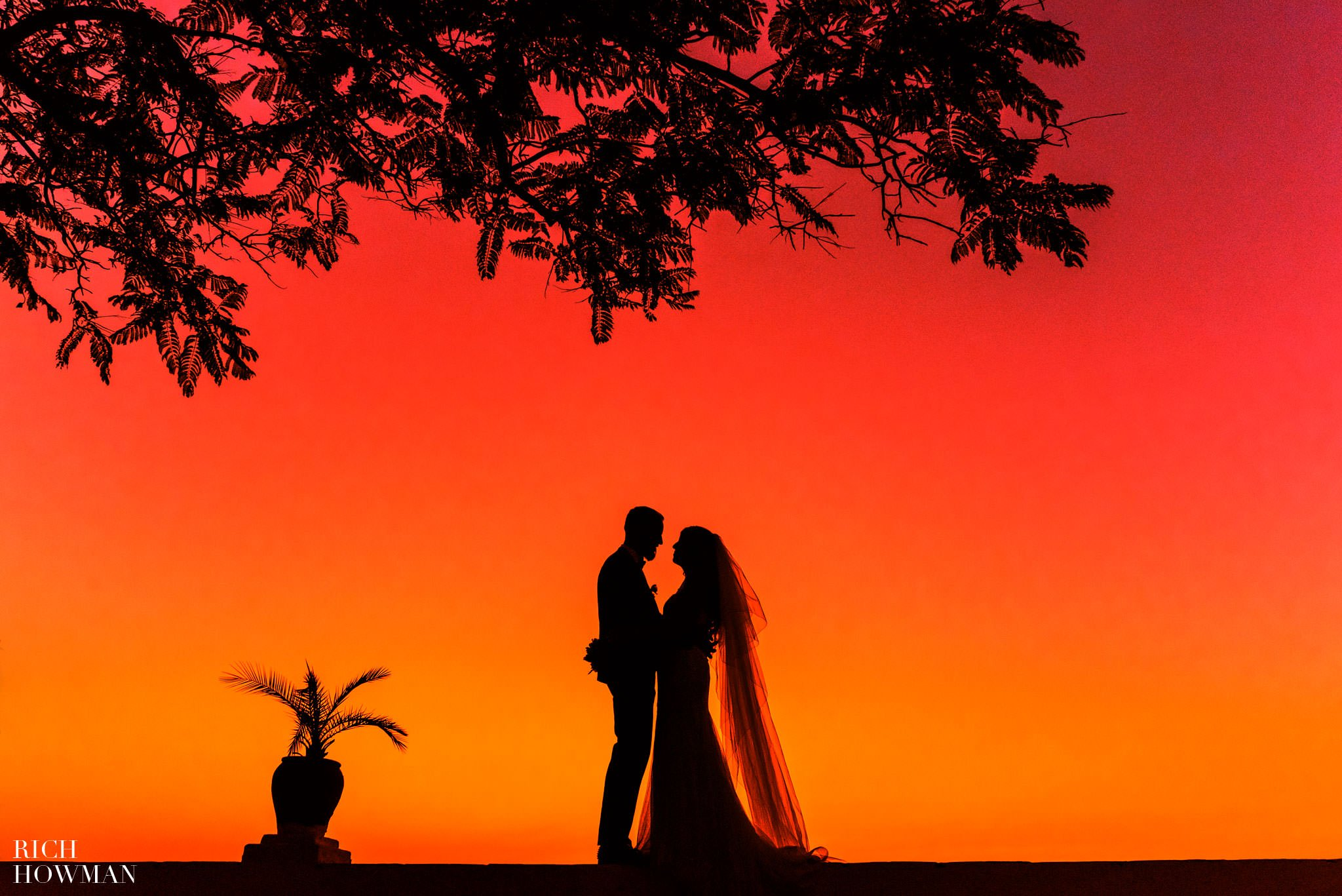 Wedding day sunset photo of the Bride and Groom at the Hacienda De San Rafael Wedding Photography