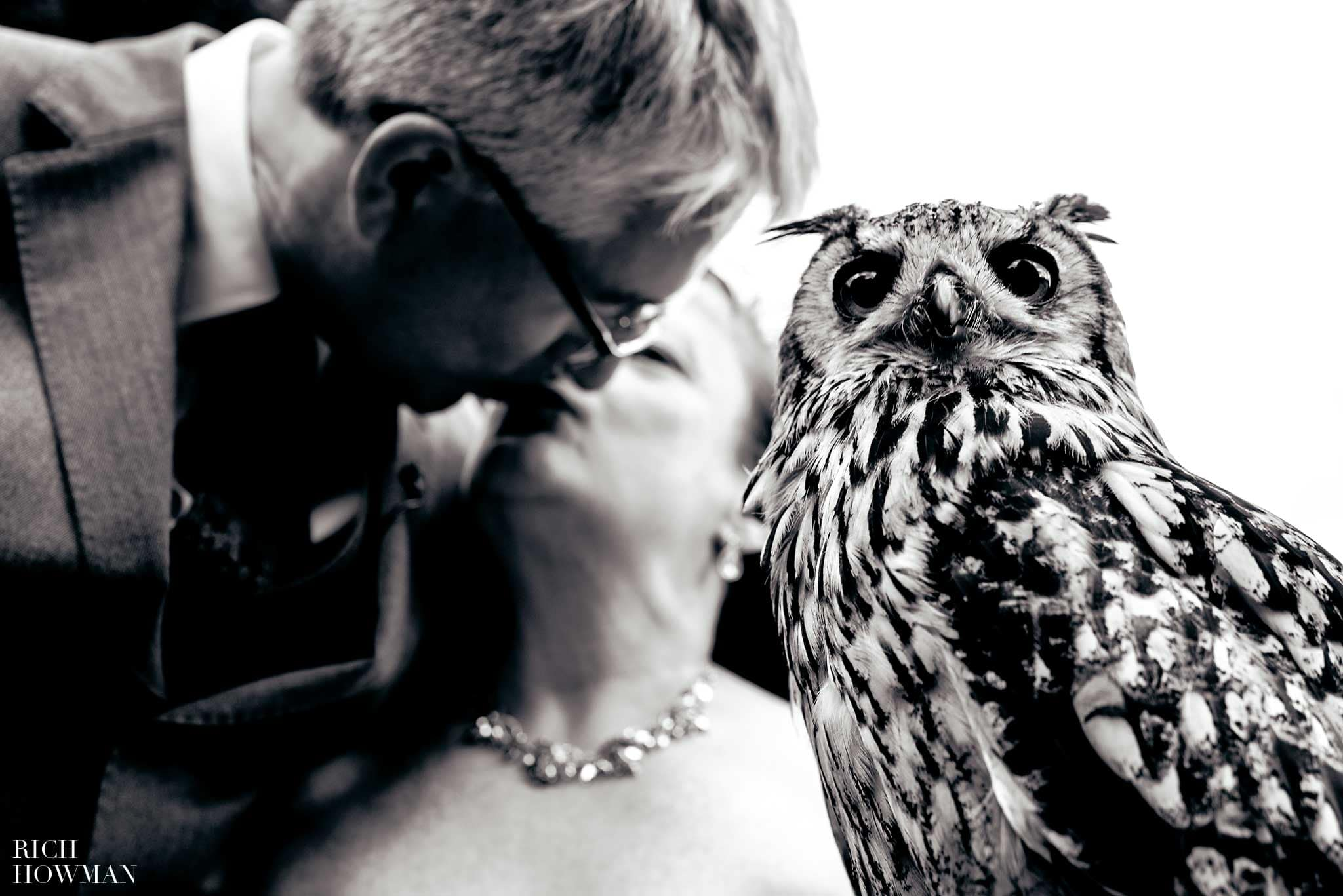 Black and white wedding photo of a ring bearing owl