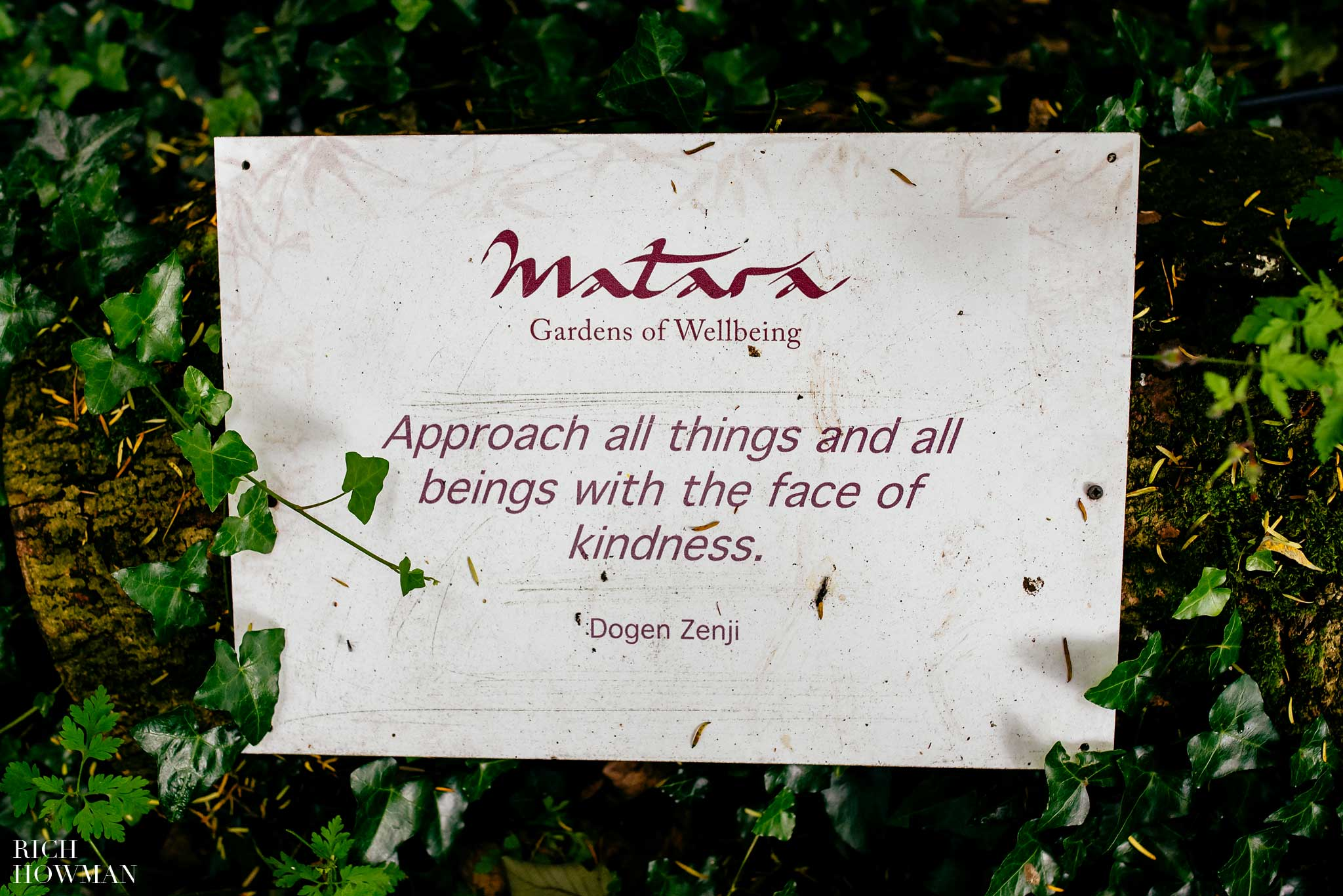 Matara Centre sign - Approach all things and all beings with a sense of kindness