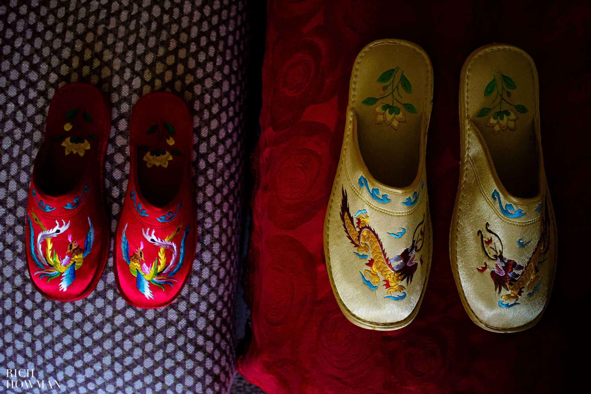 Chinese wedding slippers waiting for the bride and groom