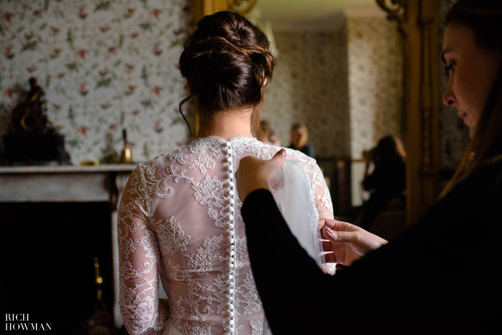 Bride in her wedding dress from behind