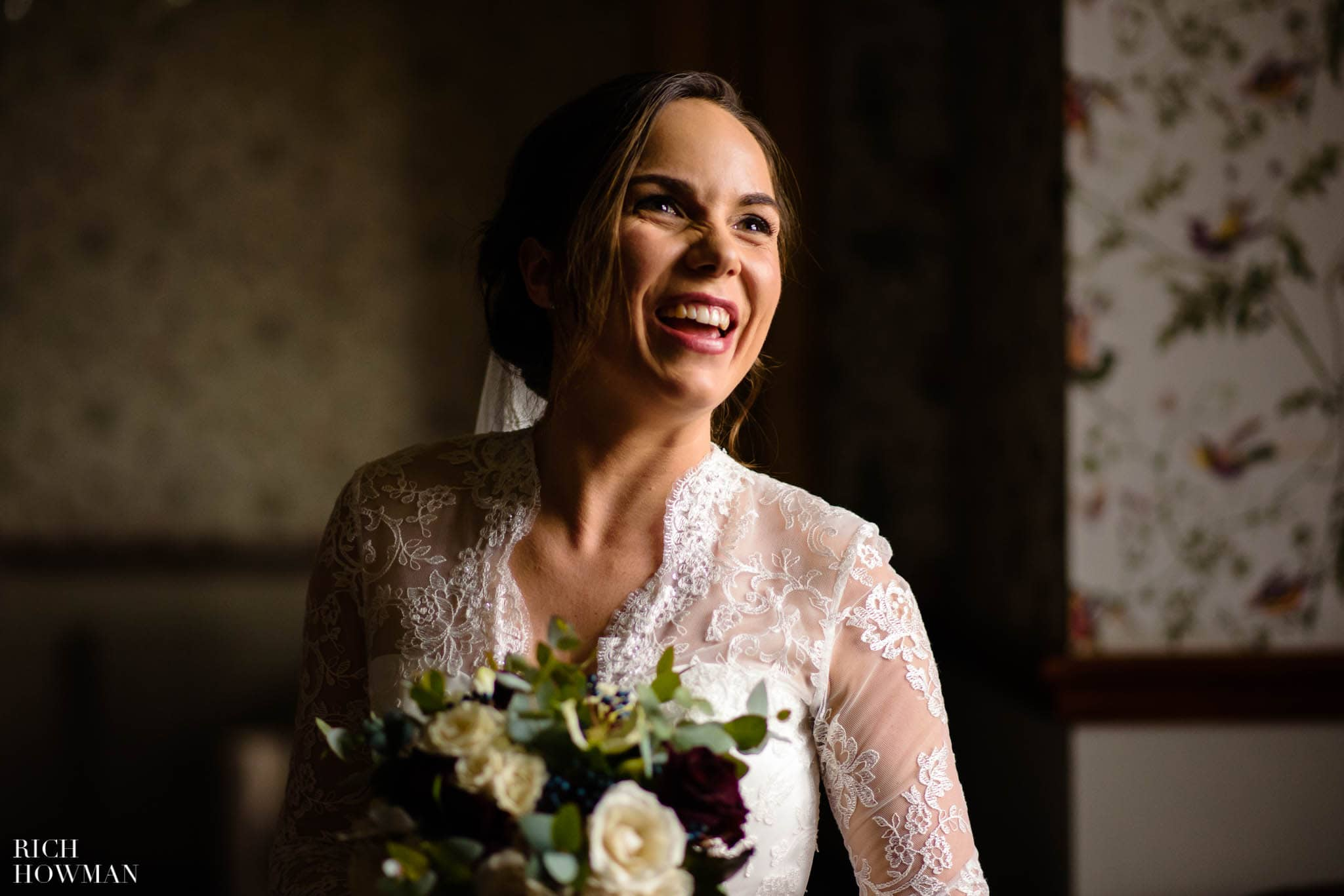 Laughing bride at Huntsham Court