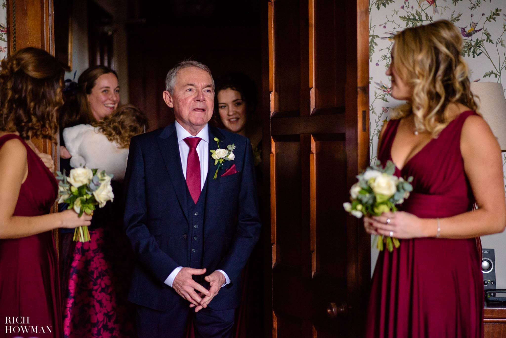 Father of the Bride sees his daughter for the first time on her wedding day