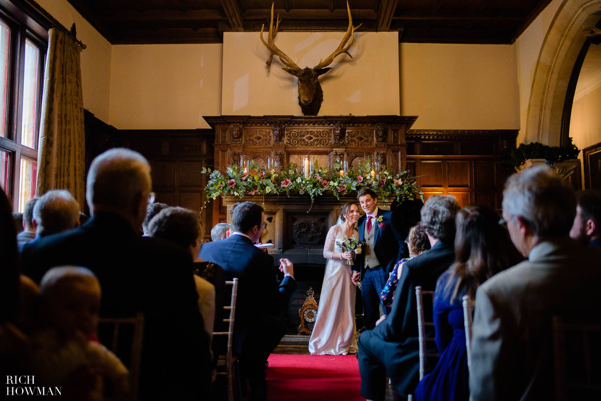 The great hall at Huntsham Court wedding photographed by Rich Howman
