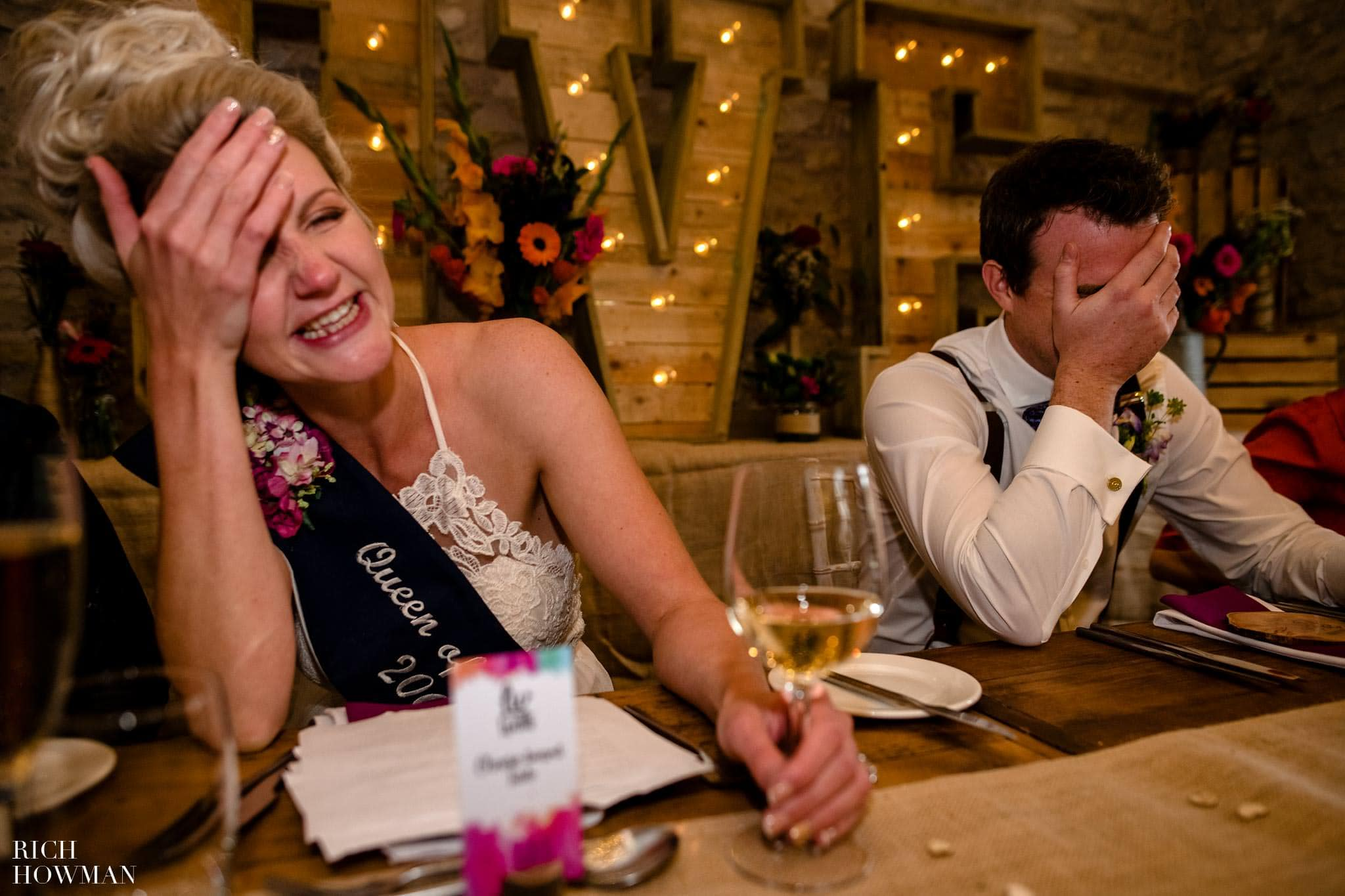 A funny moment photographed during the speeches at Folly Farm near Bristol